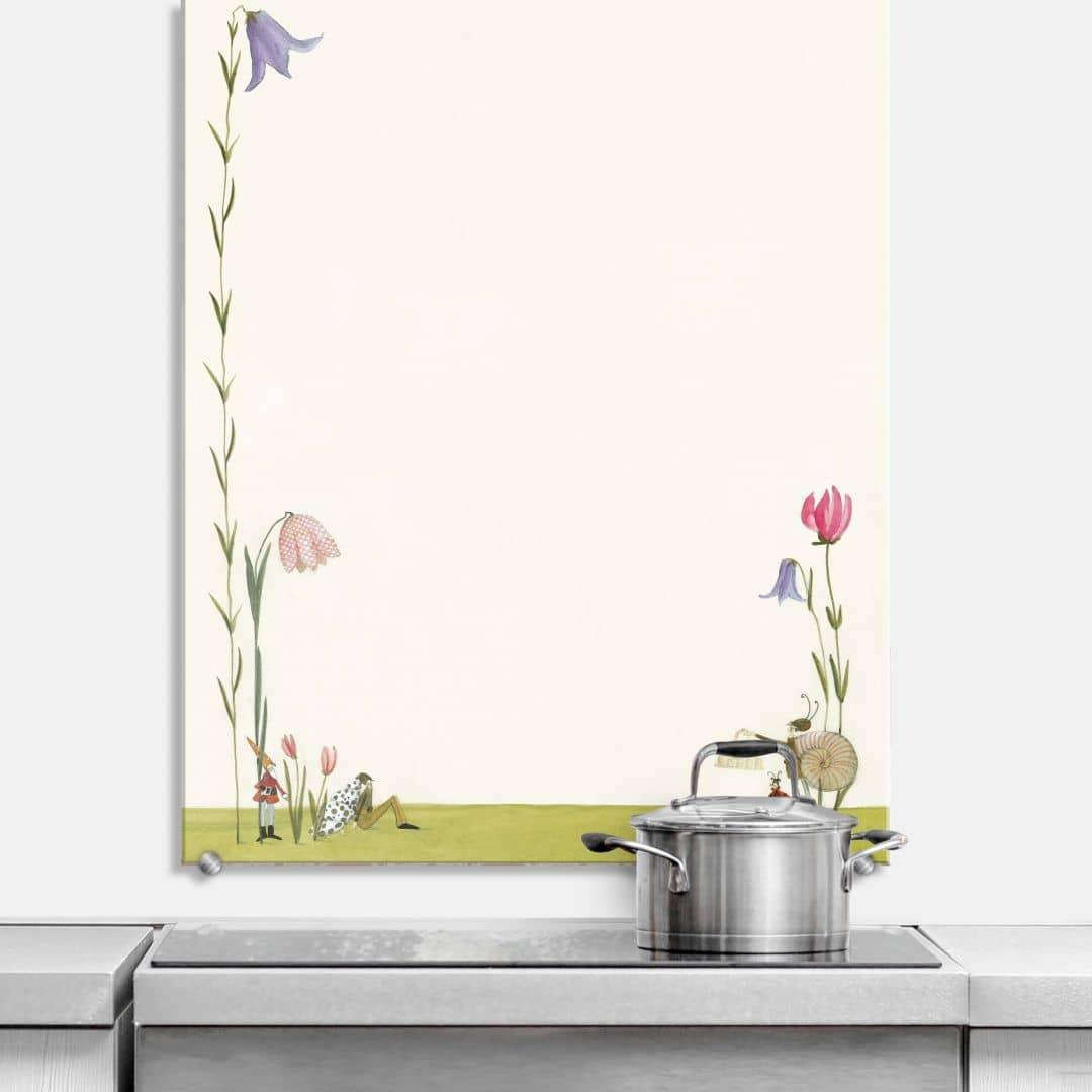 spritzschutz silke leffler bl tenschnecke wall. Black Bedroom Furniture Sets. Home Design Ideas