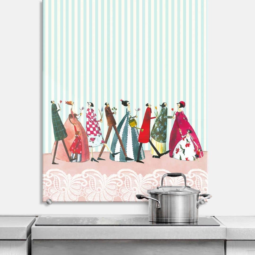 spritzschutz silke leffler familienbesuch wall. Black Bedroom Furniture Sets. Home Design Ideas