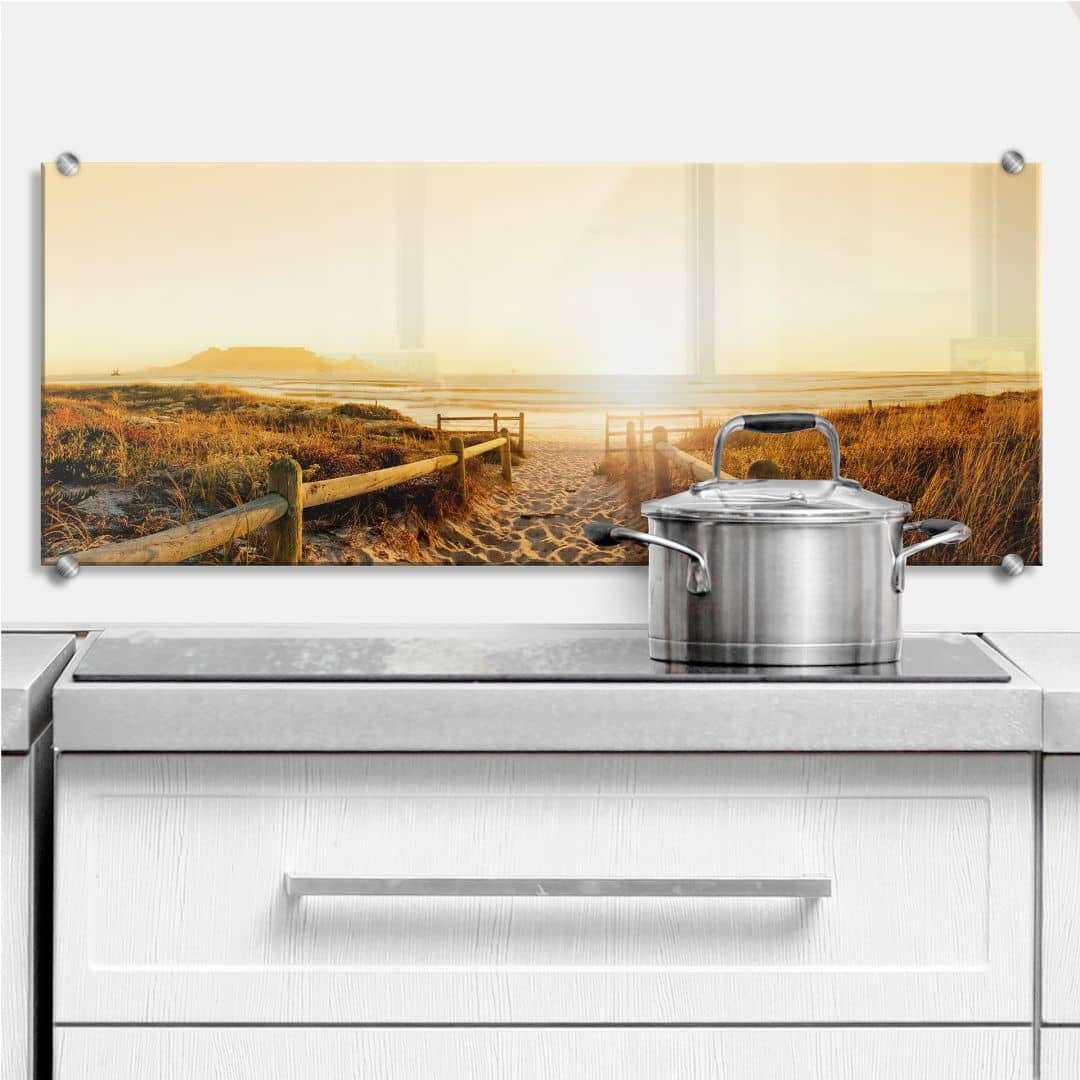Sunset at the Beach - Panorama - Kitchen Splashback