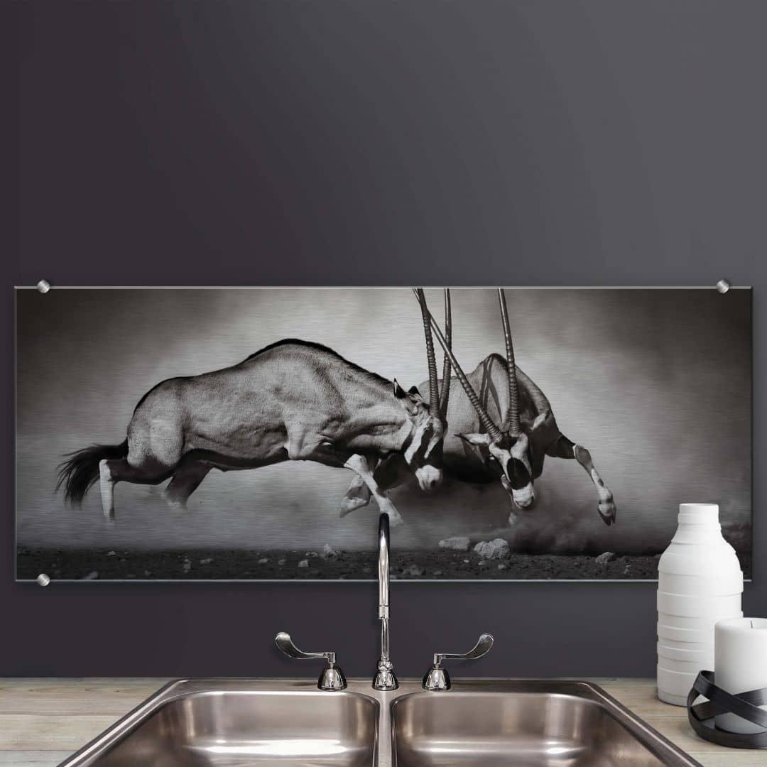 spatscherm alu dibond het duel panorama. Black Bedroom Furniture Sets. Home Design Ideas