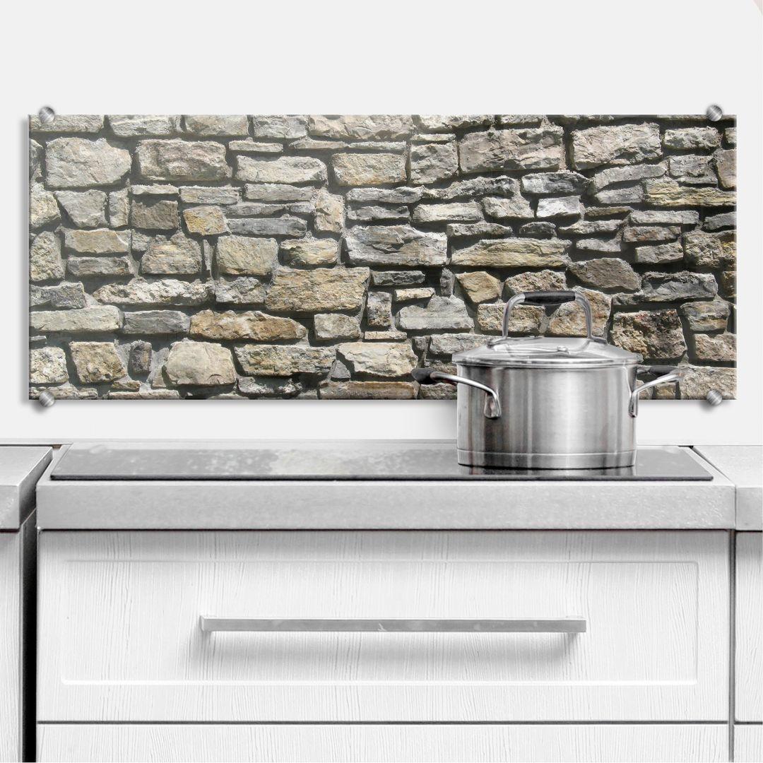 Küchenrückwand Natursteinmauer - Panorama