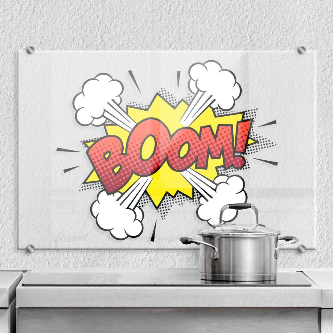 pannello paraschizzi boom fumetto wall. Black Bedroom Furniture Sets. Home Design Ideas