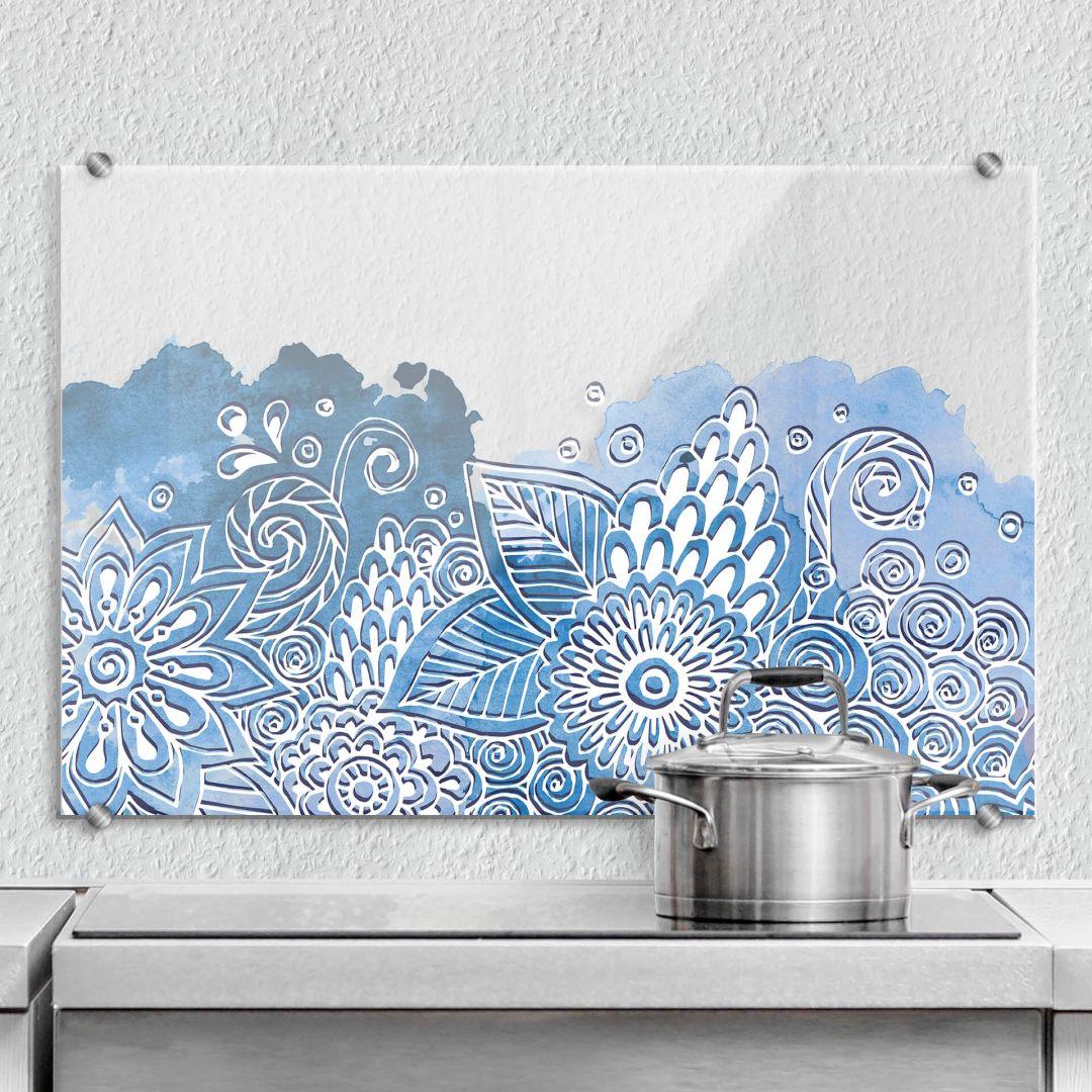 spritzschutz floral watercolour wall. Black Bedroom Furniture Sets. Home Design Ideas