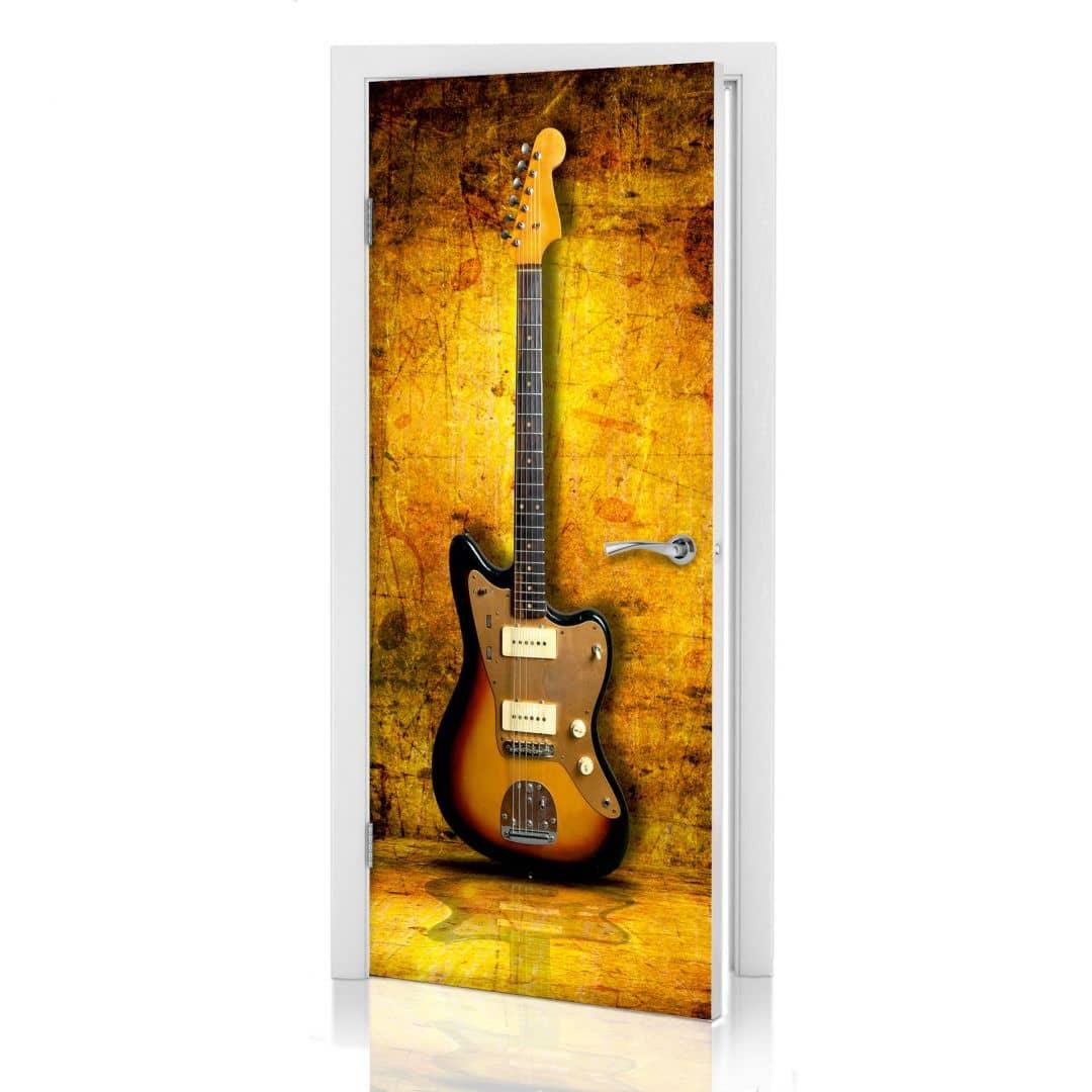 poster de porte guitare rock wall. Black Bedroom Furniture Sets. Home Design Ideas