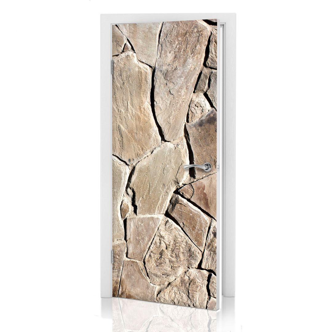 Adesivi per porte muro di pietra mediterraneo - Pellicole adesive per porte ...