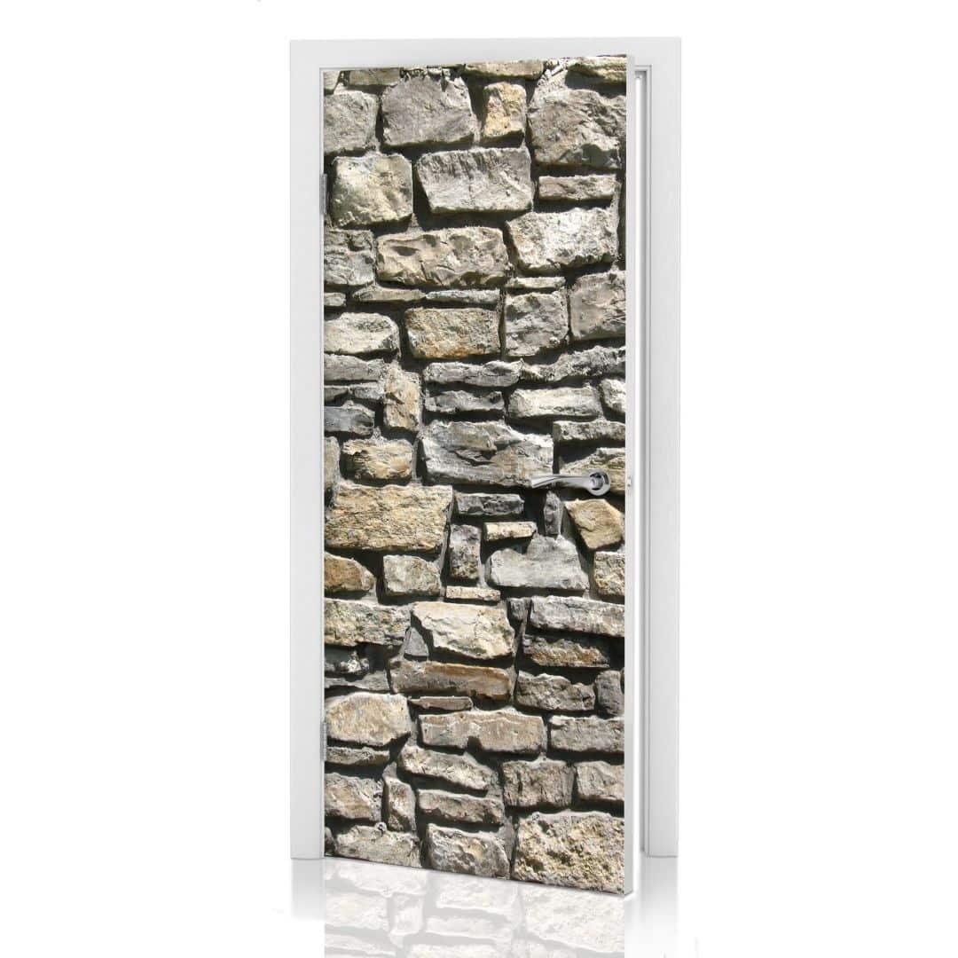 Adesivi per porte muro in pietra naturale - Pellicole adesive per porte ...