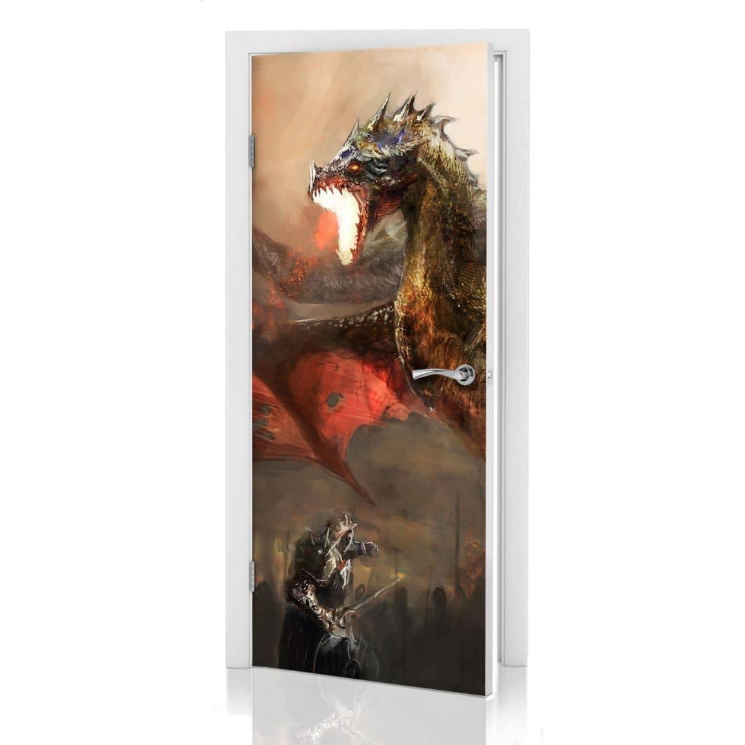 Adesivi per porte la lotta dei draghi - Pellicole adesive per porte ...