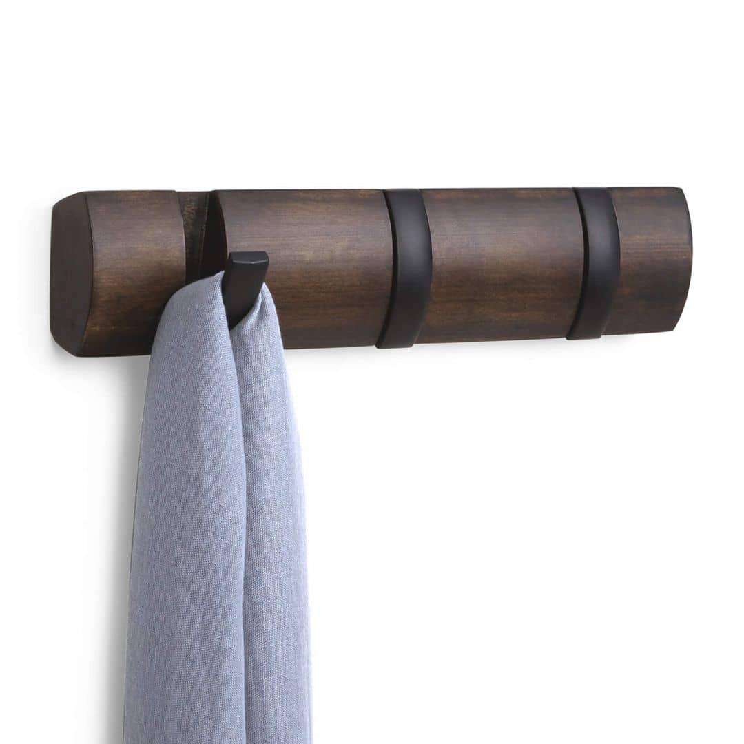Garderobenleiste Flip 3 Hook in schwarz, walnuss