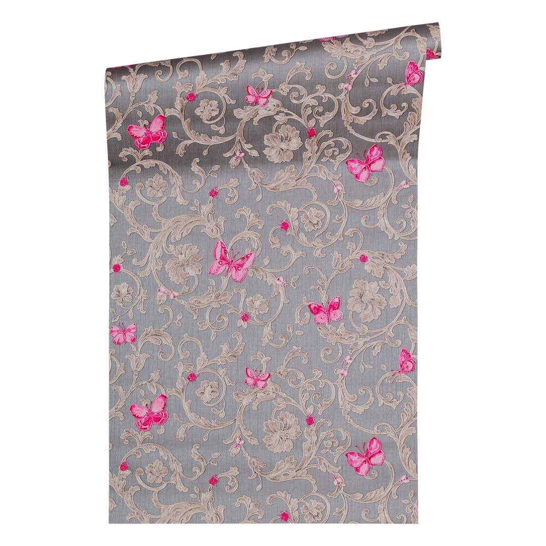 Versace wallpaper tapete butterfly barocco grau metallic - Tapete lila grau ...
