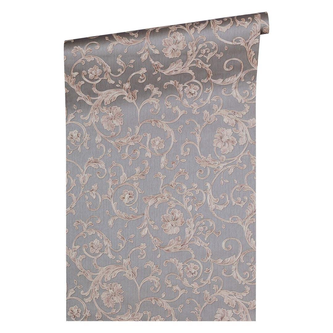 Versace wallpaper tapete butterfly barocco grau metallic for Tapete lila grau