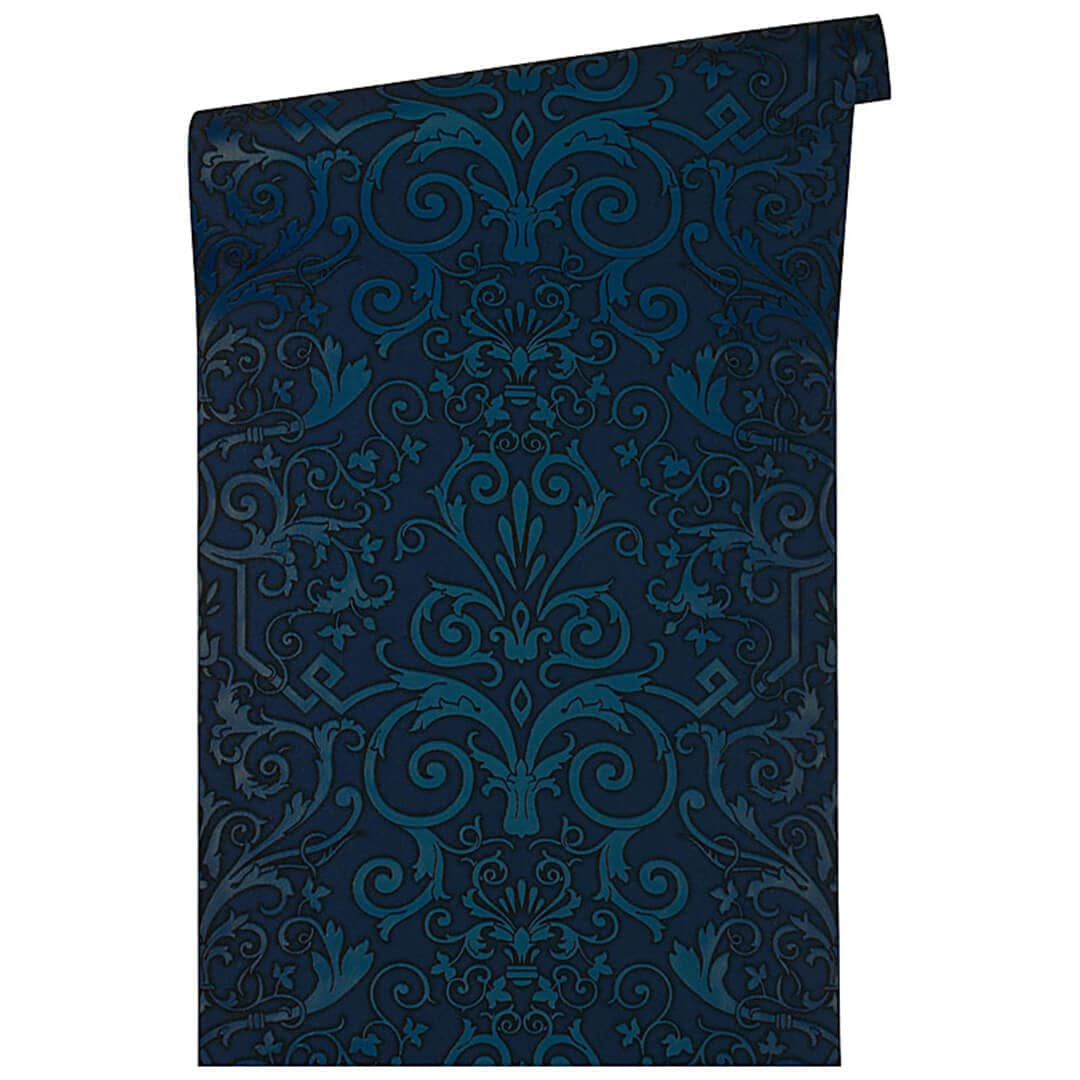 versace wallpaper tapete herald blau wall. Black Bedroom Furniture Sets. Home Design Ideas