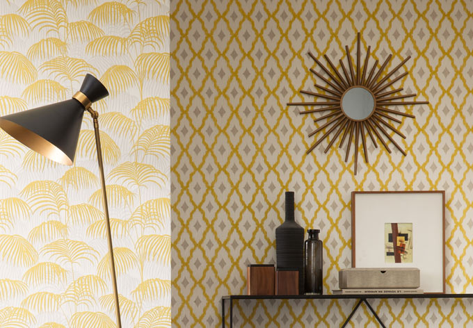 Architects Paper pattern wallpaper textile wallpaper Tessuto 2 yellow, Metallic, White