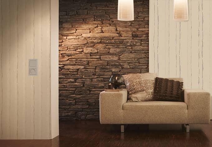sch ner wohnen vliestapete beige cremewei signalwei wall. Black Bedroom Furniture Sets. Home Design Ideas