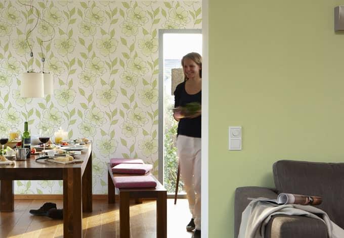 sch ner wohnen vliestapete gr n wall. Black Bedroom Furniture Sets. Home Design Ideas