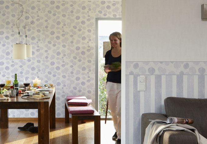 sch ner wohnen vliestapete creme wei wall. Black Bedroom Furniture Sets. Home Design Ideas