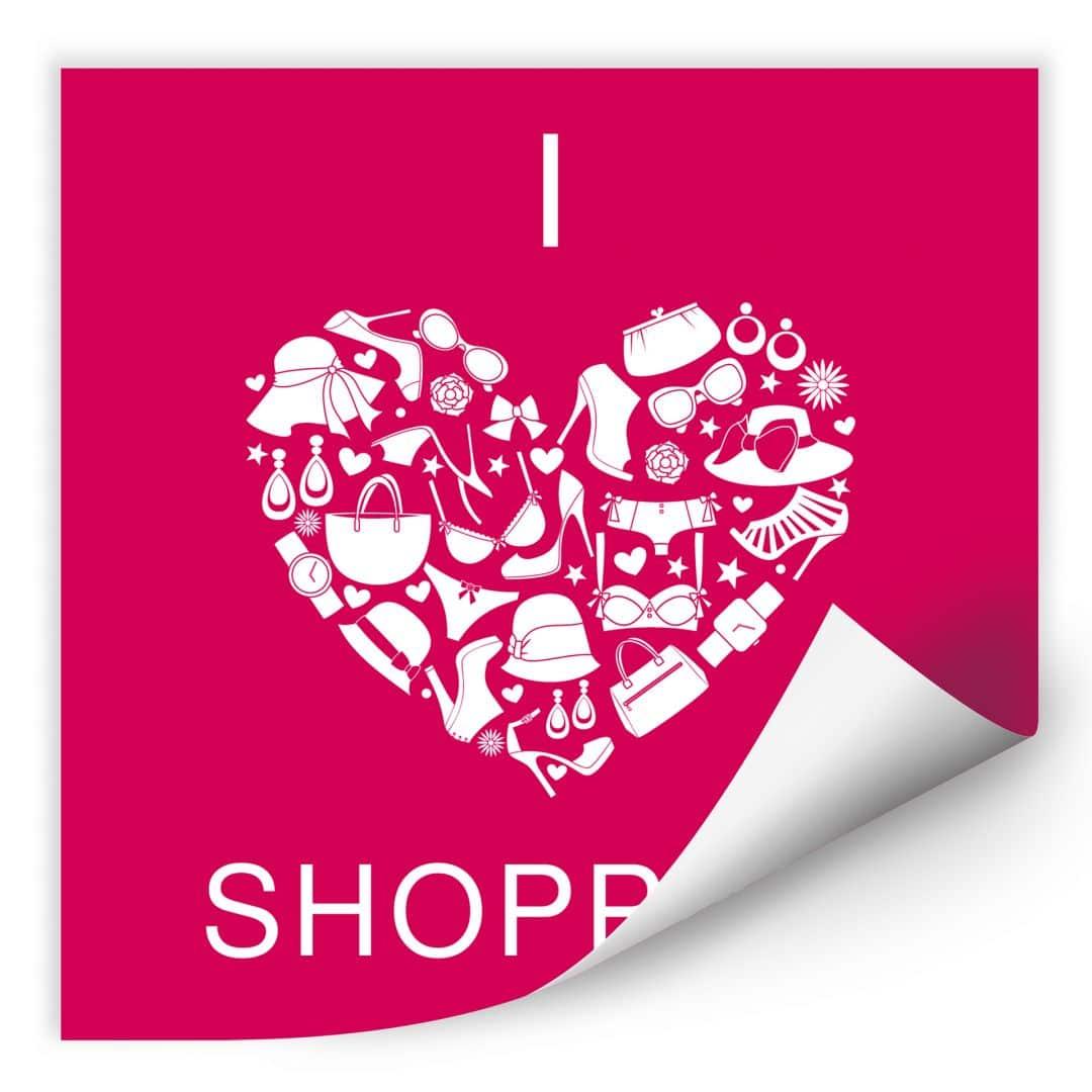 Wallprint W - I love Shopping - quadratisch