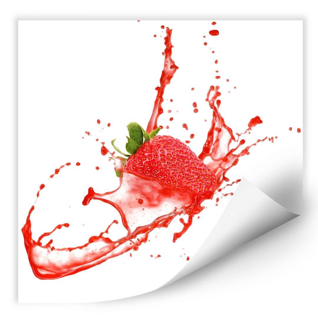 Wallprint Splashing Strawberry