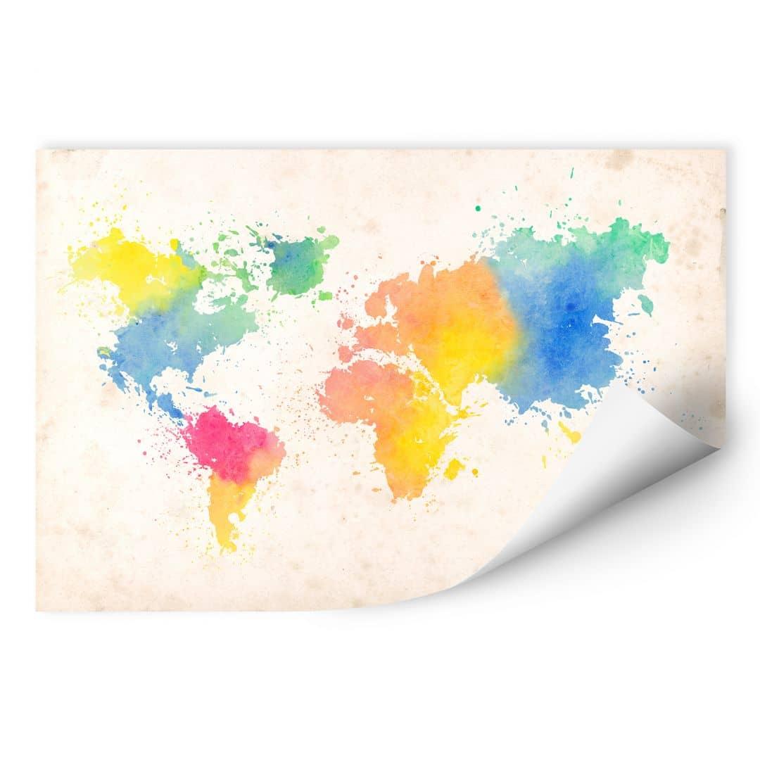 Muurprints Wereldkaart - Gekleurd Aquarel