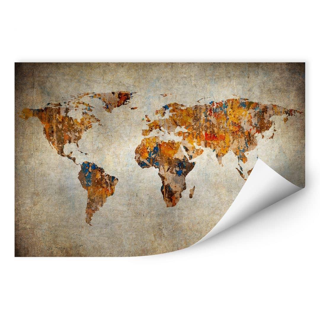 Muurprint – Wereldkaart Shabby Chic