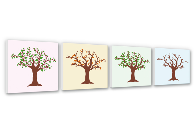 baum in den vier jahreszeiten  wandbilder im set  wall