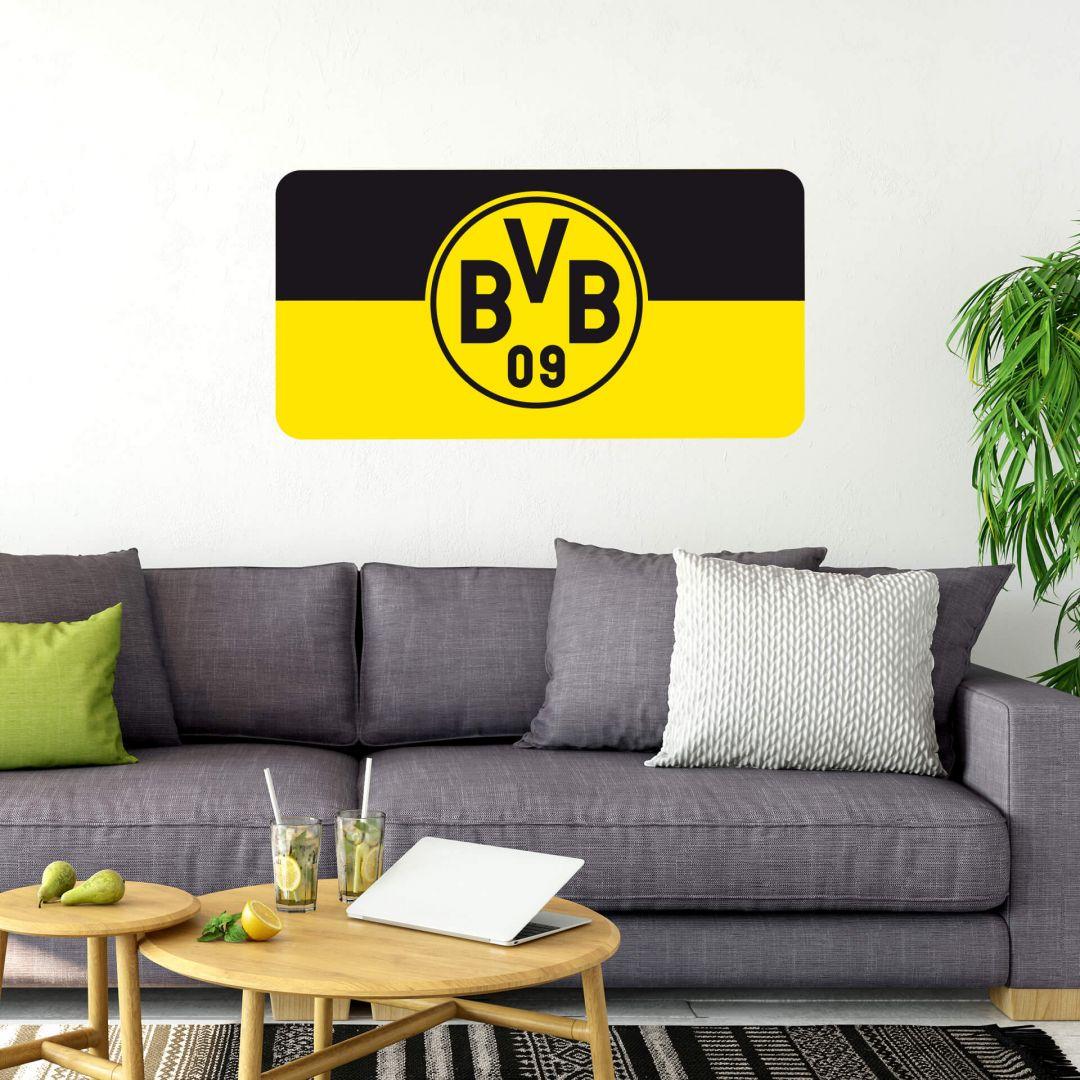 Borussia dortmund banner schwarz gelb offizielles bvb wandtattoo von k l wall art wall - Wandtattoo dortmund ...