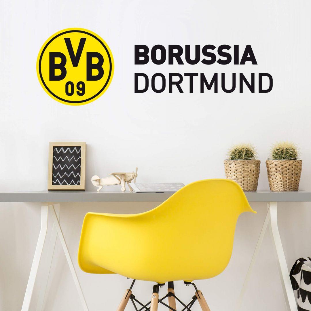 bvb schriftzug mit logo offizielles borussia dortmund wandtattoo von k l wall art wall. Black Bedroom Furniture Sets. Home Design Ideas