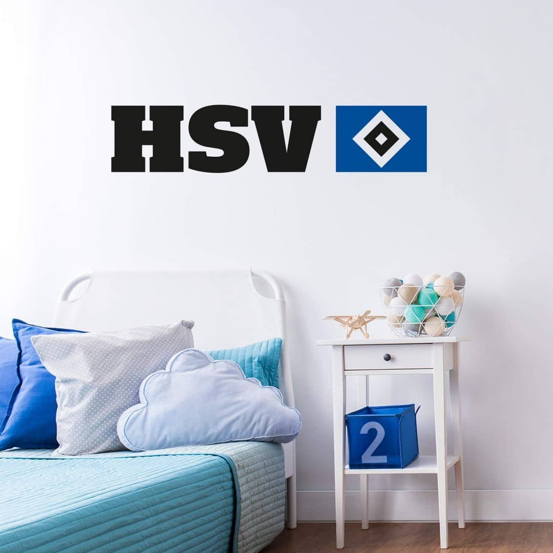 wandtattoo hsv logo mit schriftzug - wandtattoos vom hsv | wall-art.de
