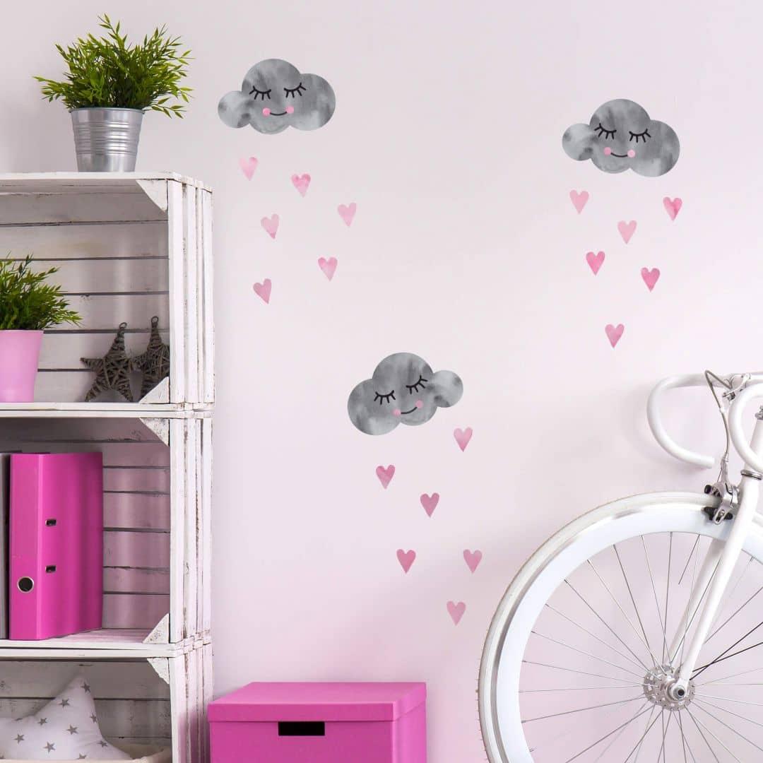 Muursticker set Wolken grijs en roze