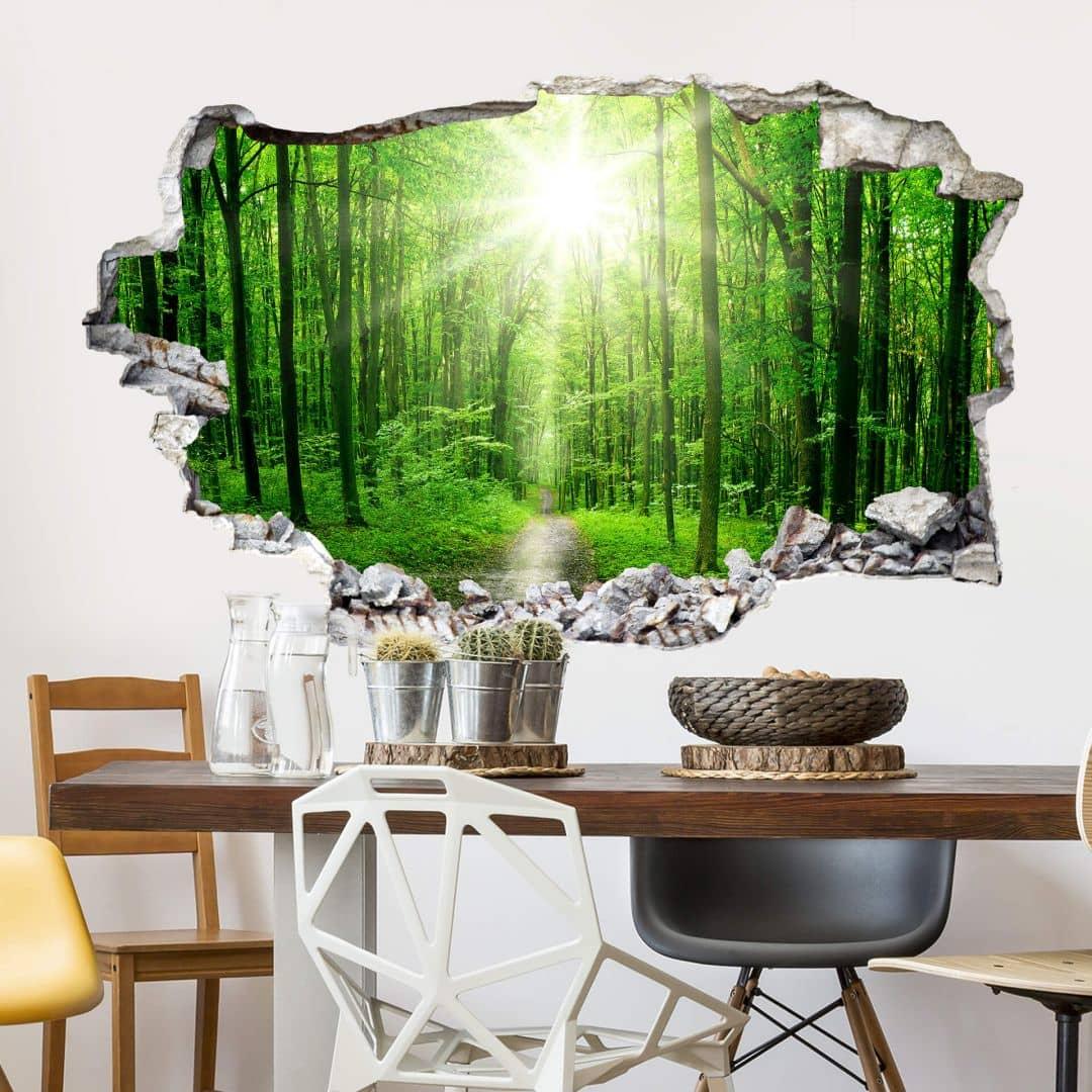 3D muursticker zonnig bos