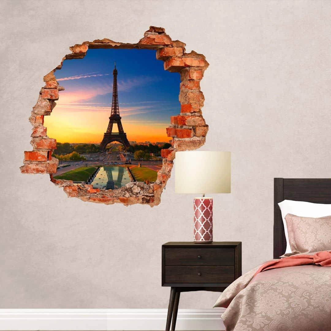 3D Muursticker Eiffeltoren bij Zonsondergang
