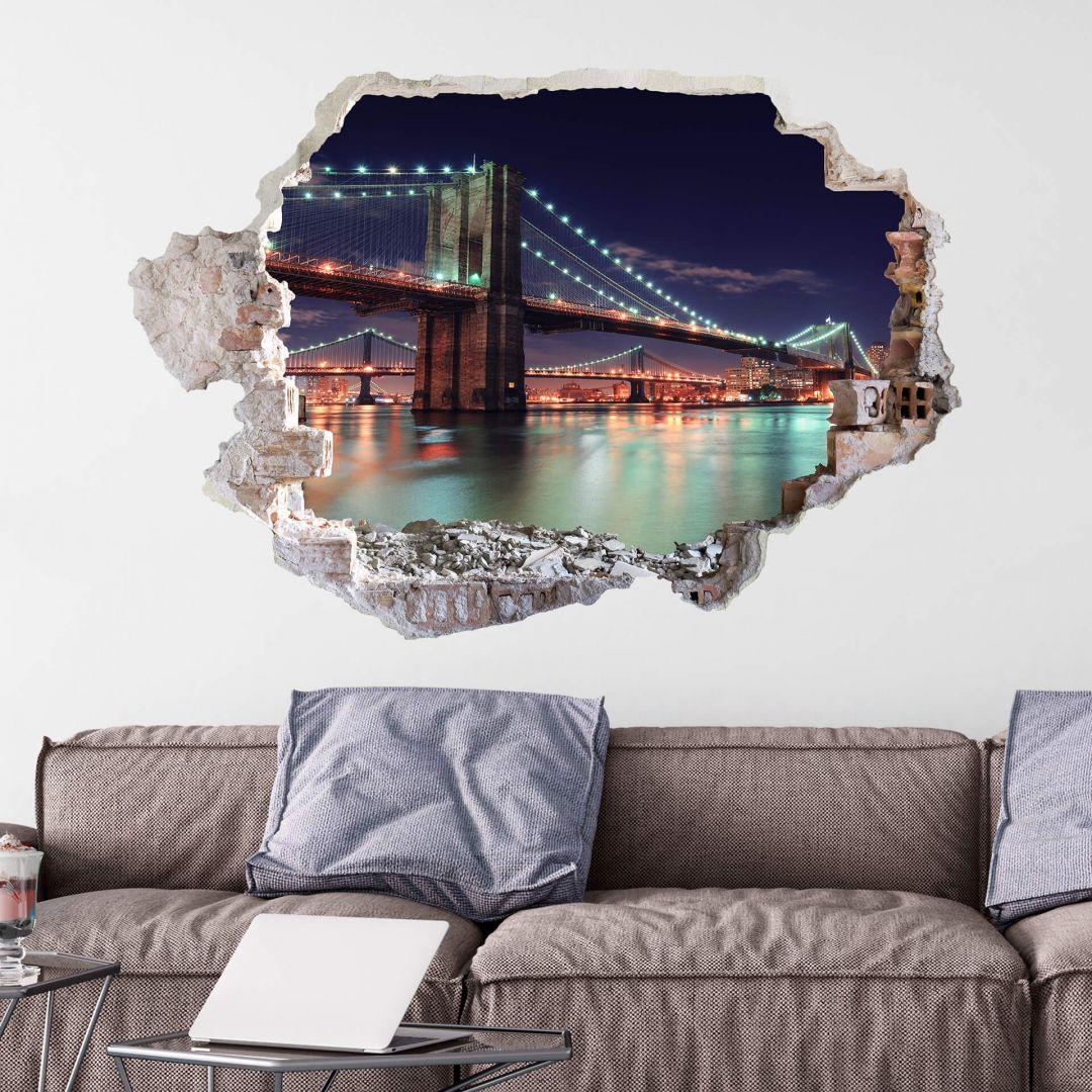 3D Muursticker Manhattan Bridge at Night 2