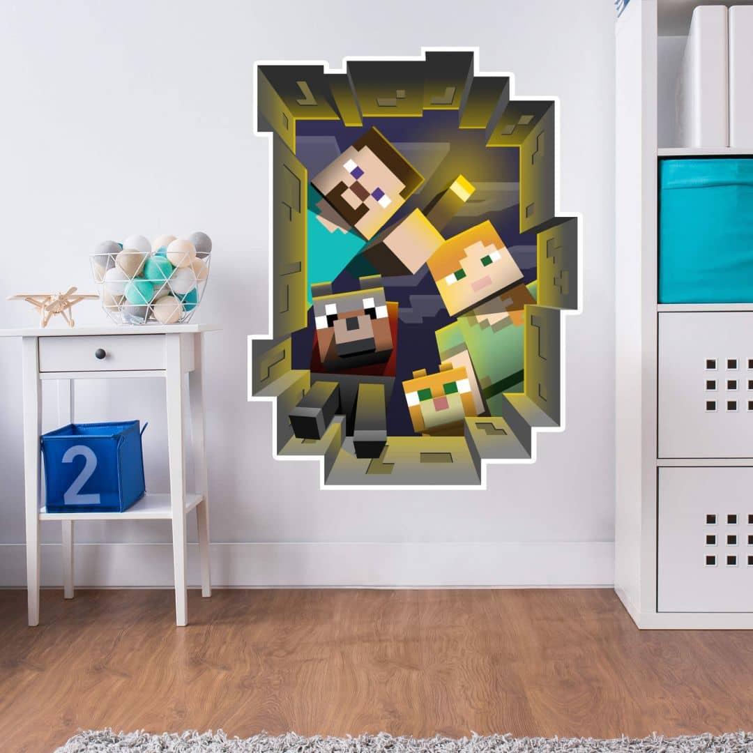 Wandsticker Minecraft - Caved in Wall | wall-art.de