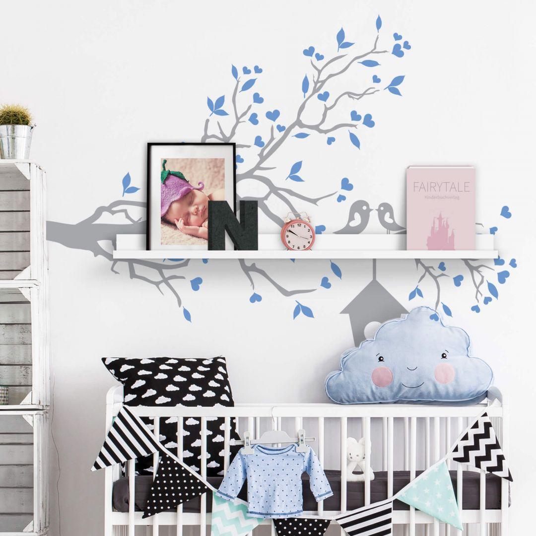 adesivo murale passeri innamorati bicolore incl mensola per quadri. Black Bedroom Furniture Sets. Home Design Ideas