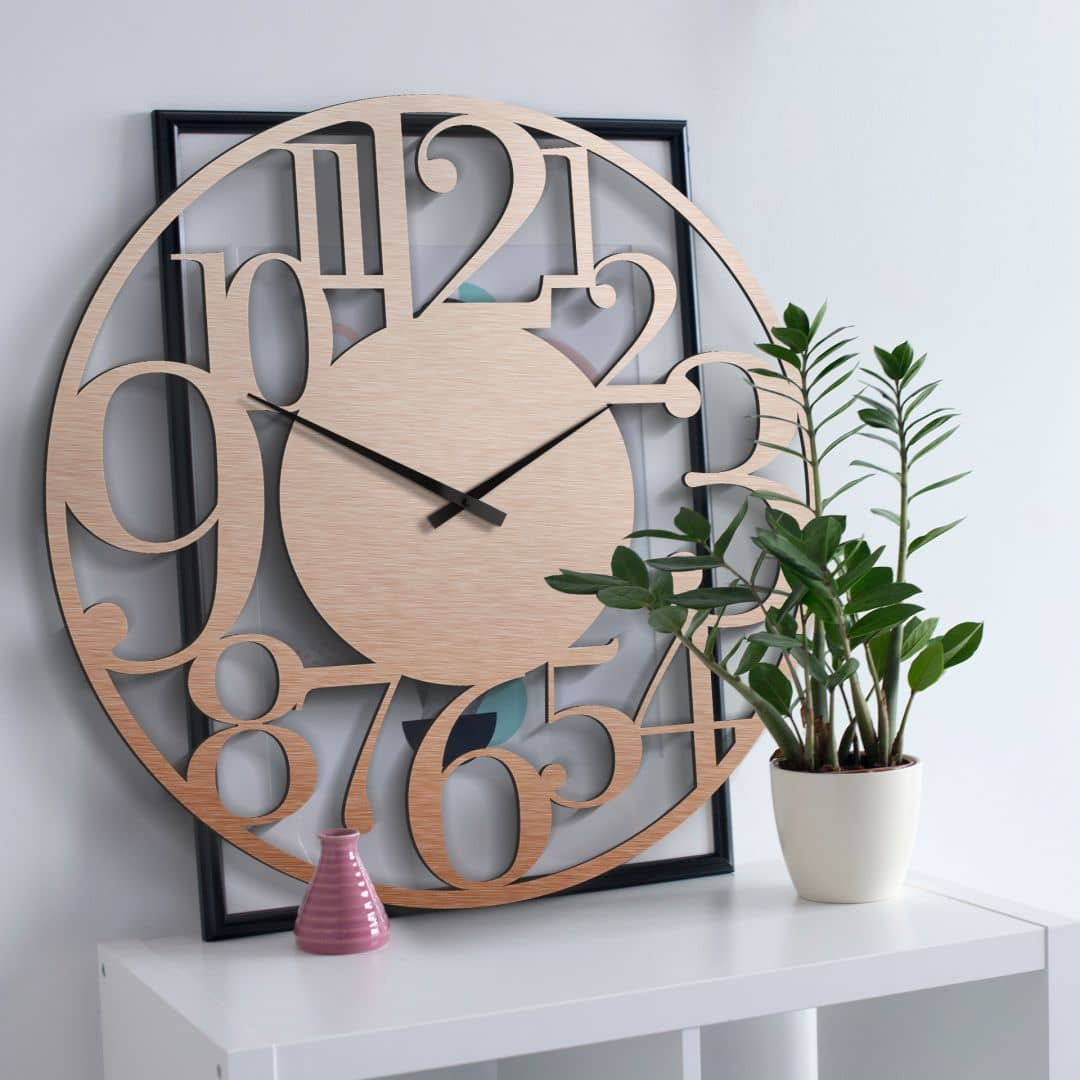 xxl wanduhr alu dibond kupfereffekt modern 70 cm wall. Black Bedroom Furniture Sets. Home Design Ideas