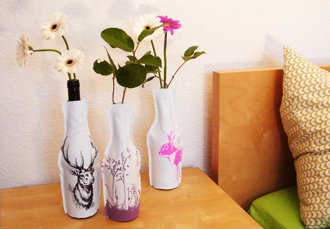 vasen gestalten mit den flaschenhussen f r glasflaschen wall. Black Bedroom Furniture Sets. Home Design Ideas