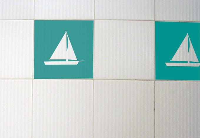 Wandtattoo Fliesendeko Boot
