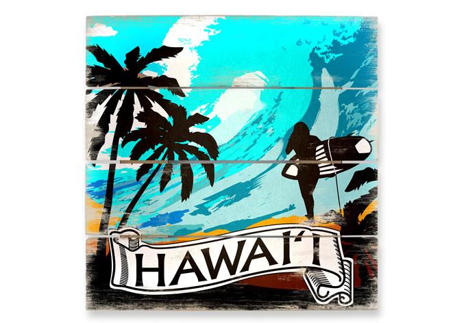 cooles holzbild hawaii im comic style von k l wall art wall. Black Bedroom Furniture Sets. Home Design Ideas