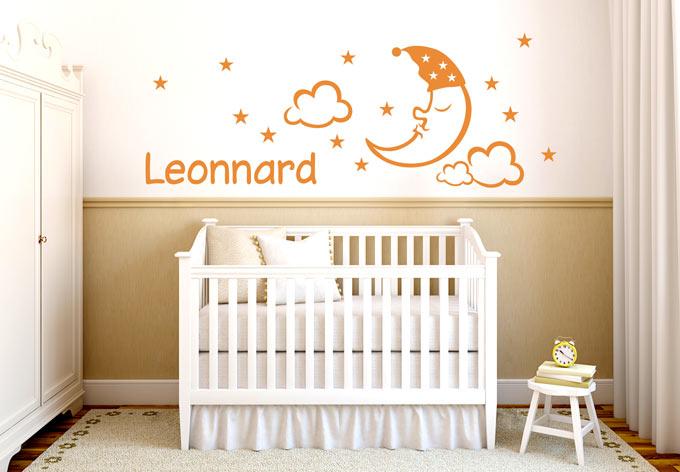 Wandtattoo mit kindername leuchtende dekoration f r das kinderzimmer wall - Leuchtende wandtattoos ...
