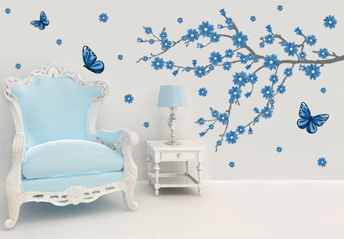 Wandtattoo Eisblüten mit Schmetterlingen