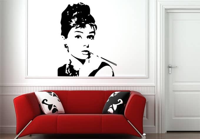 wandtattoo audrey deko mit audrey hepburn wall. Black Bedroom Furniture Sets. Home Design Ideas