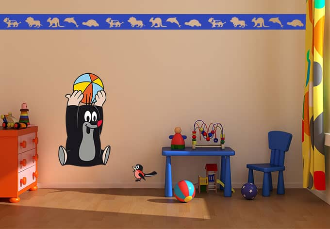 wandtattoo maulwurf ballspiel lustige kinderzimmerdeko wall. Black Bedroom Furniture Sets. Home Design Ideas