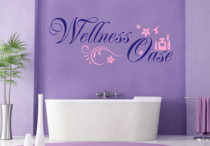 Zweifarbiges wandtattoo wellness oase 2 von k l wall art wall - Wandtattoo wellness ...