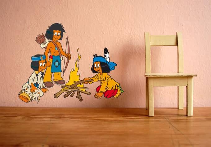 Wandtattoo yakari am lagerfeuer indianer wandsticker mit for Kinderzimmer yakari