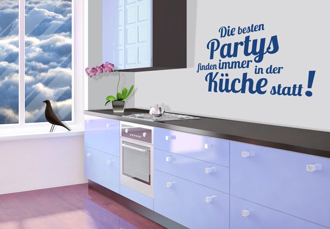 wandtattoo die besten partys finden in der k che statt von k l wall art wall. Black Bedroom Furniture Sets. Home Design Ideas