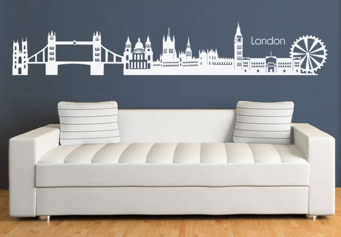 wandtattoo london skyline 2 die moderne metropole an der themse als imposanter wandsticker. Black Bedroom Furniture Sets. Home Design Ideas