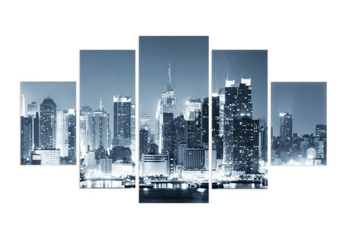 5 teiliges acrylglas set new york at night 1 wall. Black Bedroom Furniture Sets. Home Design Ideas