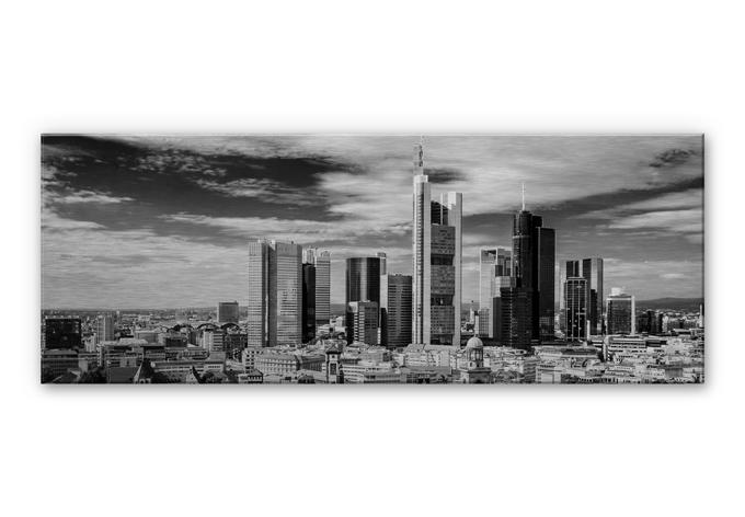 alu dibond mit silbereffekt frankfurter skyline panorama wall. Black Bedroom Furniture Sets. Home Design Ideas