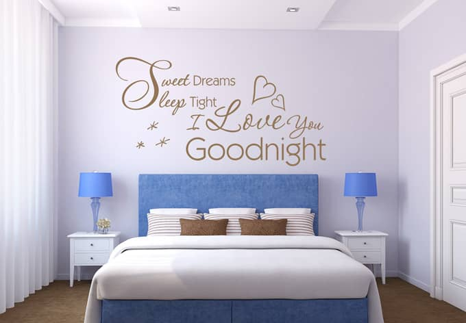 wandtattoo sweet dreams sleep tight wall. Black Bedroom Furniture Sets. Home Design Ideas