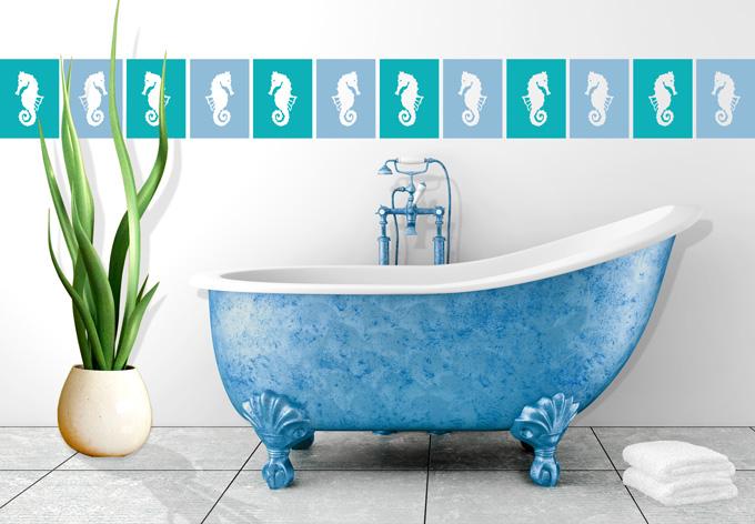 Adesivo murale decorazione per piastrelle cavallucci for Piastrelle bagno 20x25 rosa