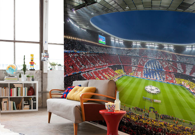 fototapete bayern m nchen stadion choreo immer weiter wall. Black Bedroom Furniture Sets. Home Design Ideas